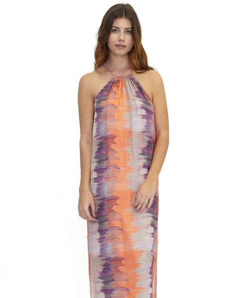 Karlie long Halter Silk Wave Print Dress