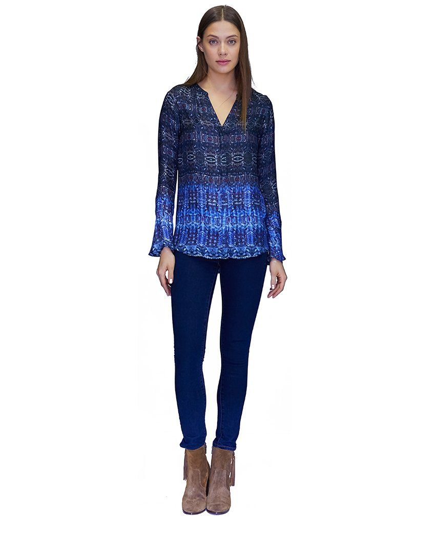 Lily Cupro Blouse in Blue Jewels
