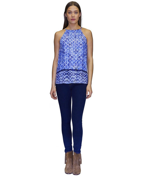 Lizzie Cupro Tank Top in Blue Border Print