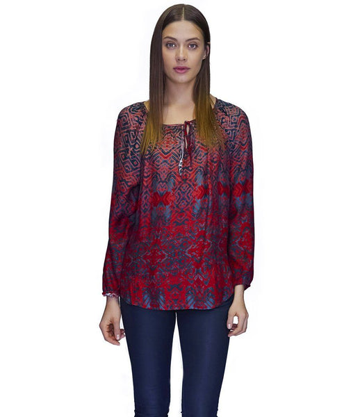 Parker Cupro Blouse in Monument Print