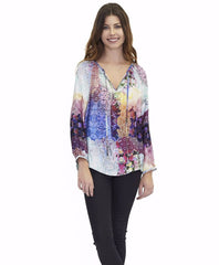 Tangerine NYC women's silk peasant Parker blouse in colorful blue and purple print