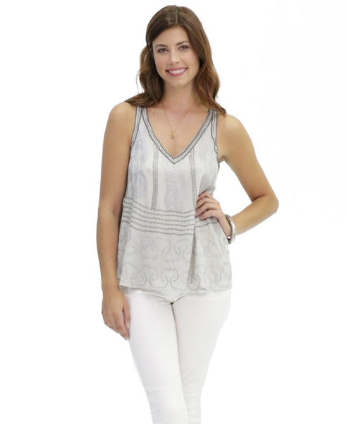 Sarah Embroidered Cotton Tank in Nadia