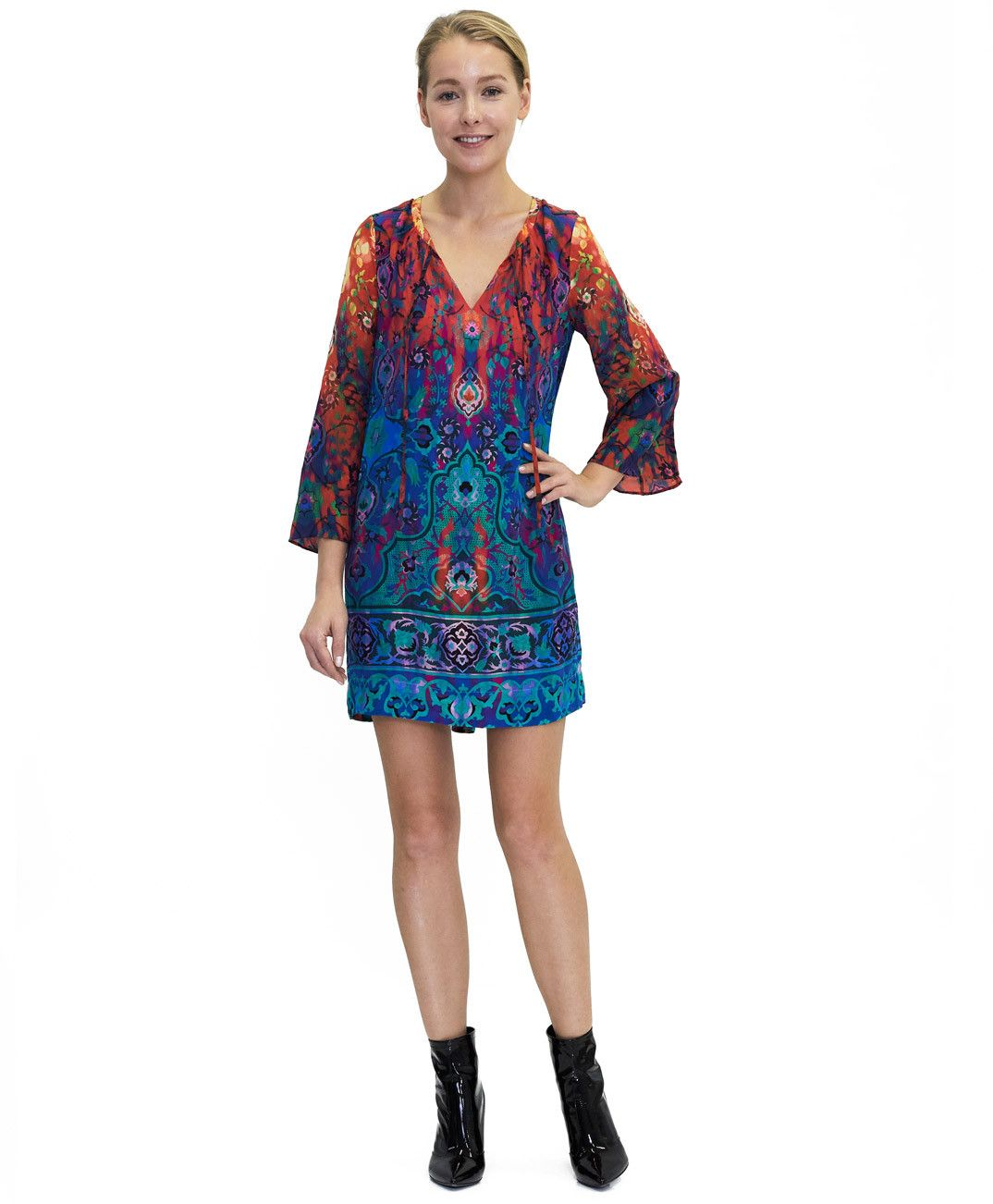 Tangerine NYC women's silk Selena V-Neck dress in blue and red print best seller