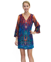 Tangerine NYC women's silk Selena quarter sleeve dress in blue and red print best seller