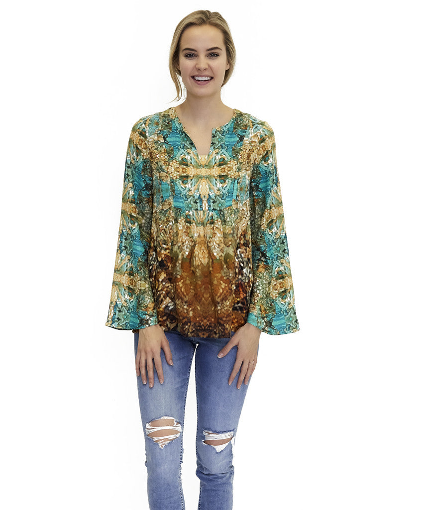 Shelly Silk Top Lyon Print