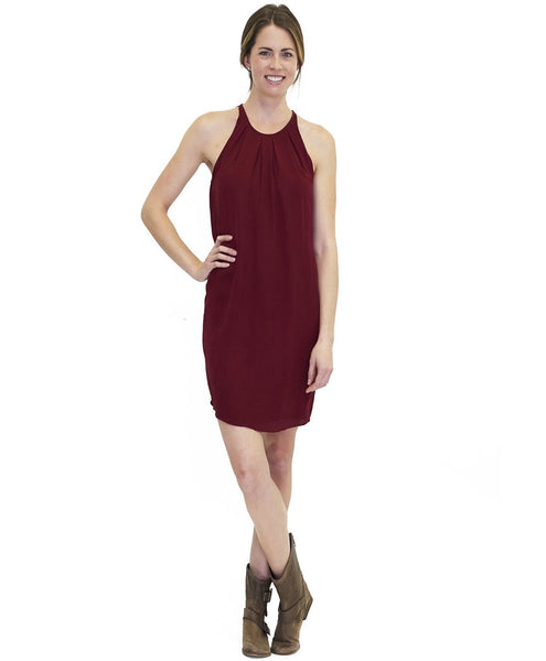 Tangerine NYC women's silk Sophia sleeveless dress with pleated neckline in dark maroon best seller