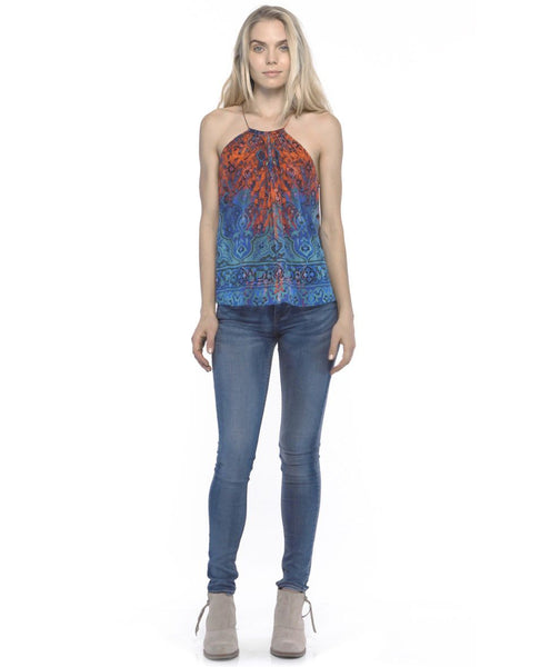 Tangerine NYC women's silk halter Ally tank in blue and red print best seller