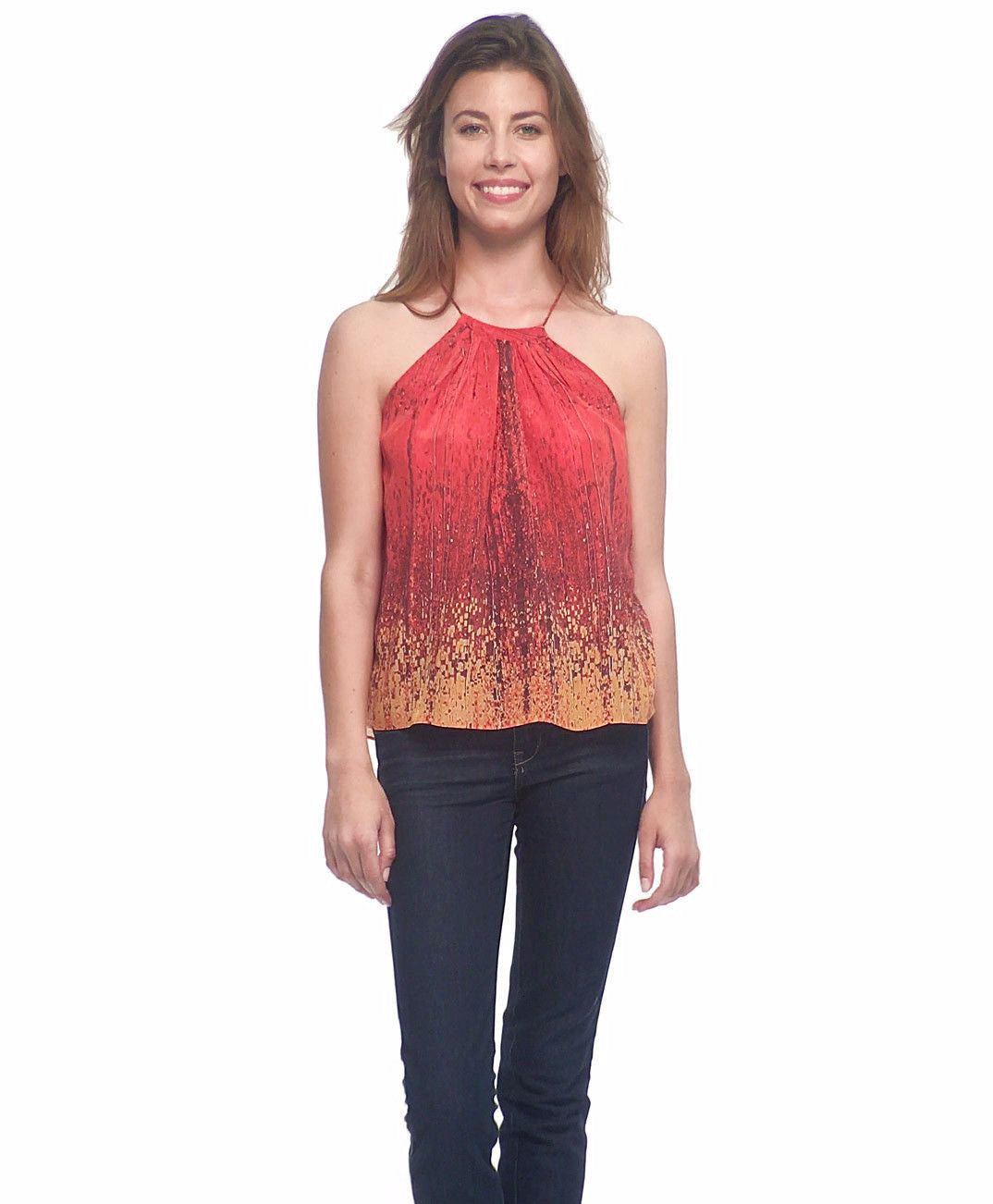 red yellow women's silk tank
