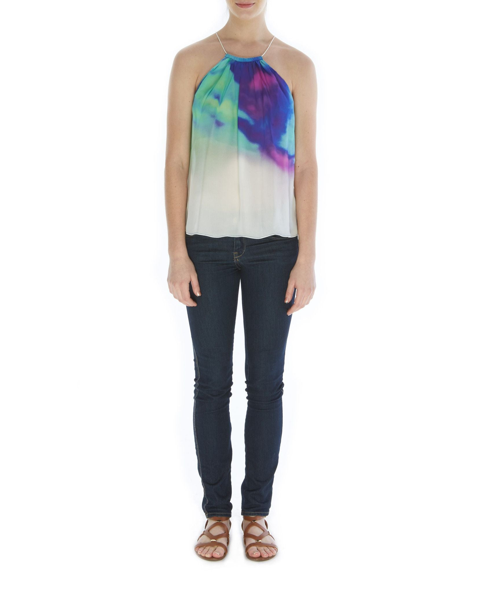 T104 ALLY DBL GGT TIE TOP TANK WATERCOLOR