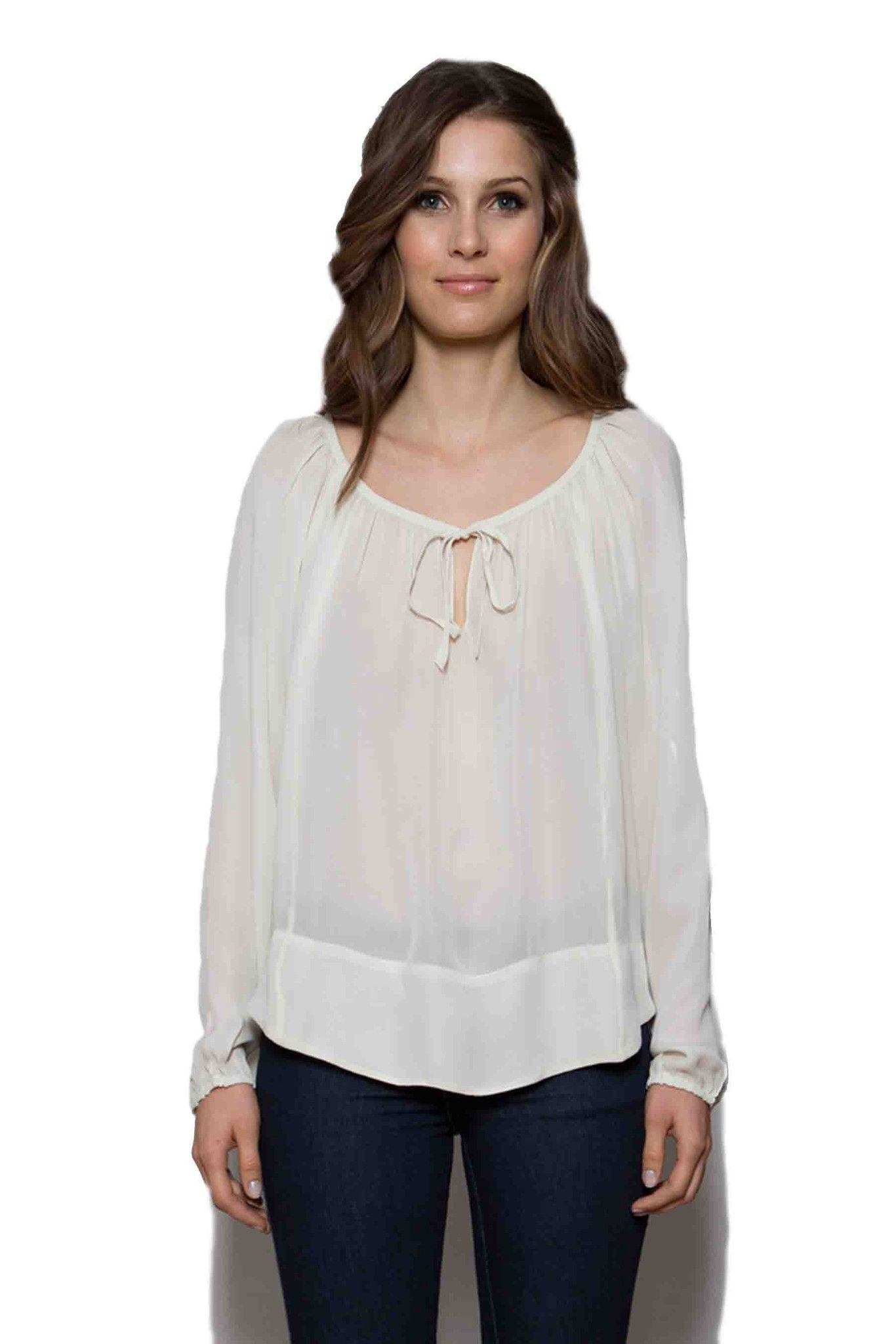 T205 LONG SLEEVE BLOUSE IN DBL GGT ANTIQUE WHITE