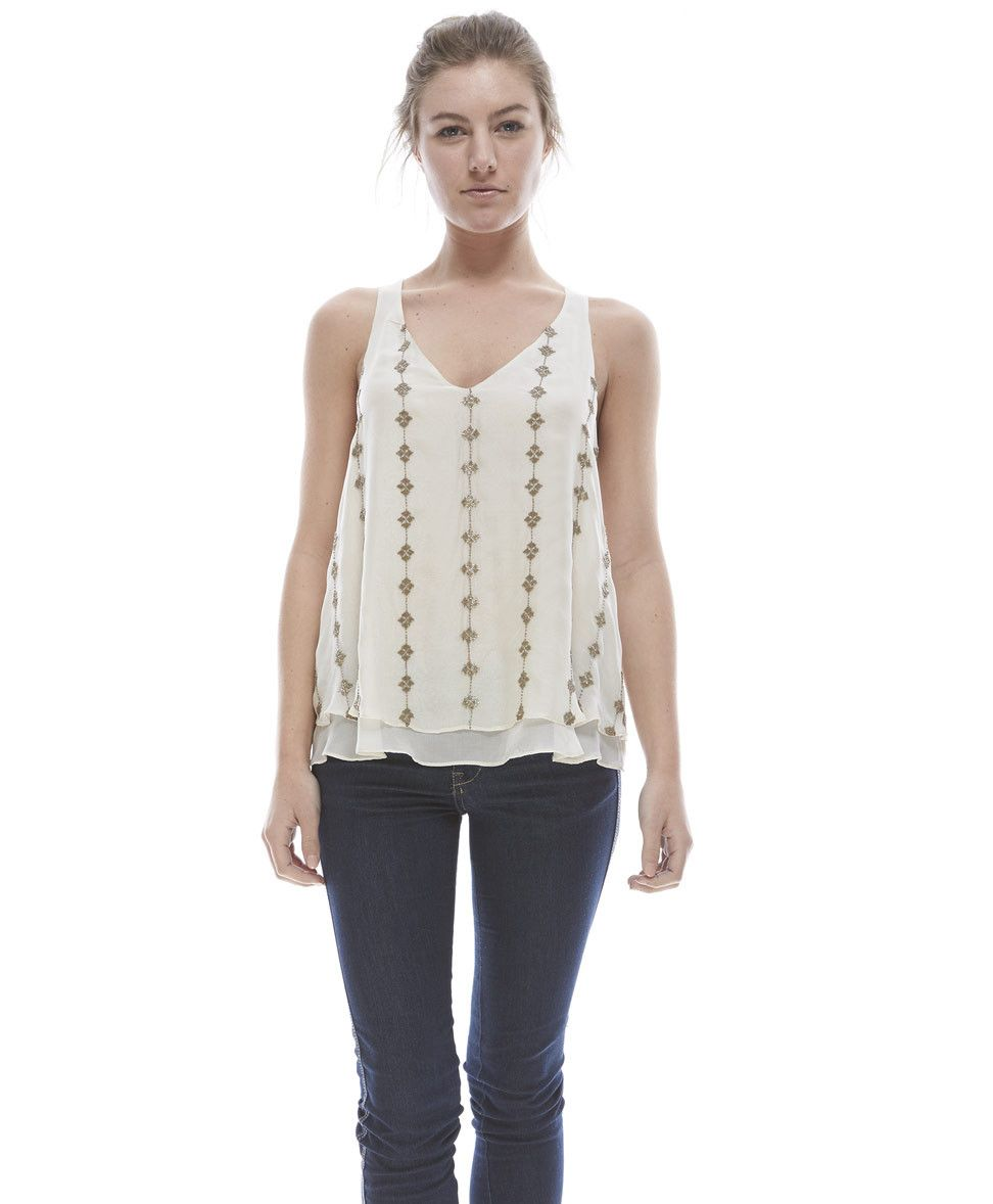 Tangerine NYC women's silk beaded v-neck Sarah tank in white best seller