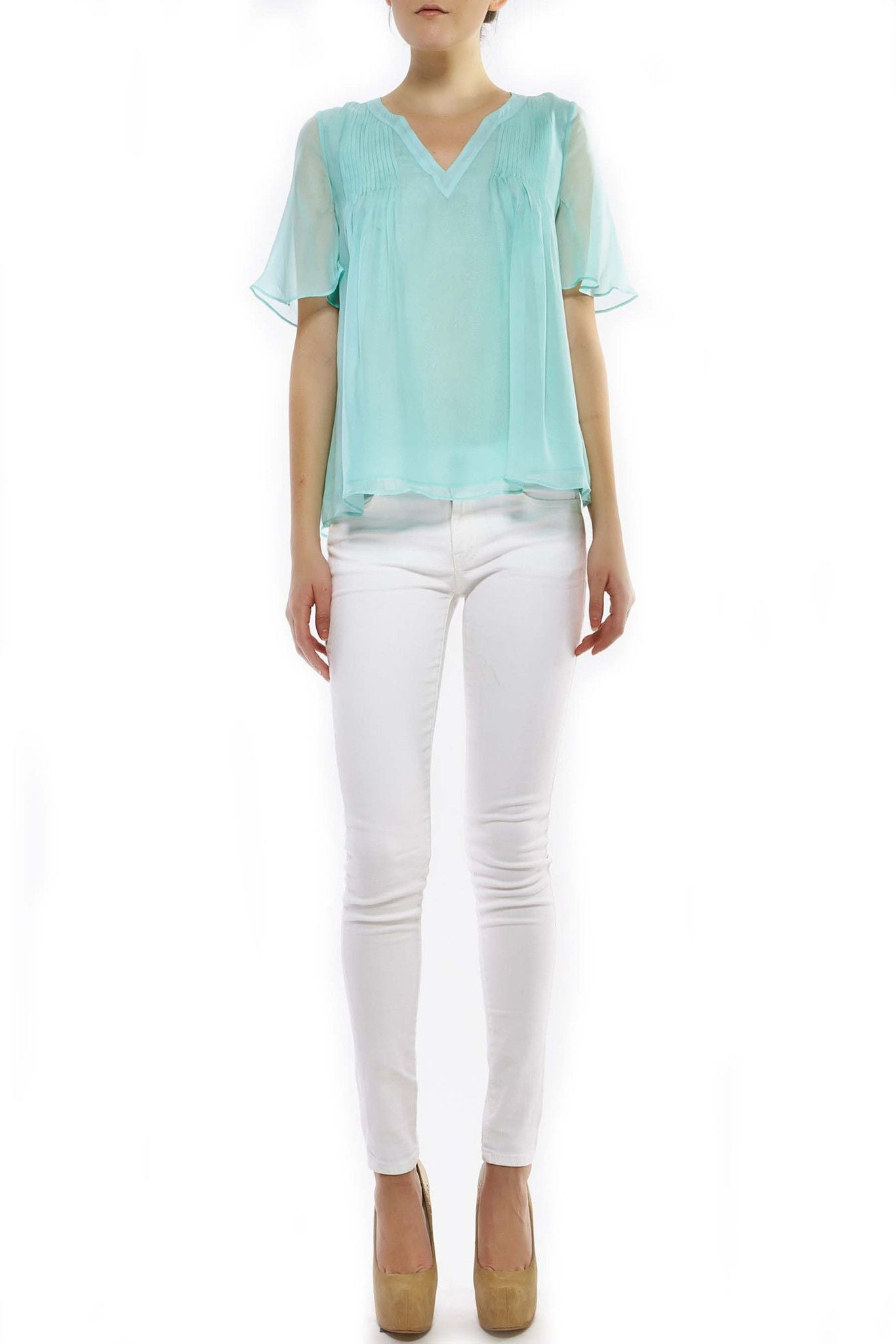T322 BLAIR TOP W/ RUFFLE SLEEVES AND LINING DARK MINT