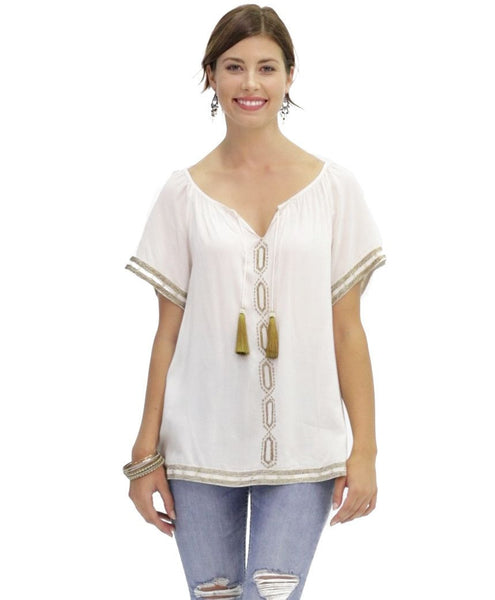 Xena Embroidered Cotton Blouse in Argan
