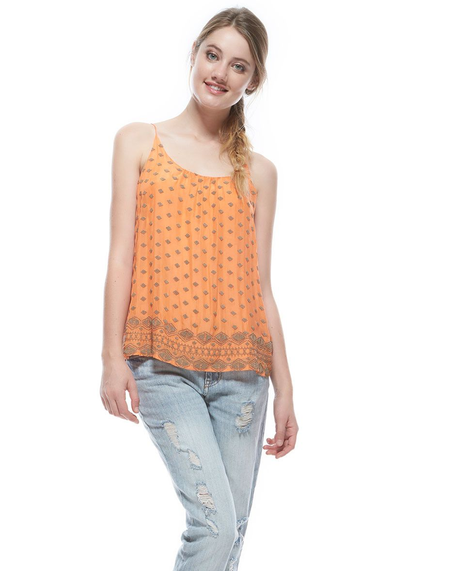 Tangerine NYC women's silk beaded spaghetti strap Ashley tank in orange best seller