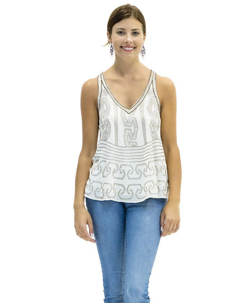 Sarah Embroidered Cotton Tank in Bliss