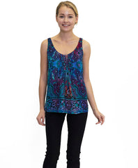 Tangerine NYC women's silk Jorden tank in blue and red print best seller