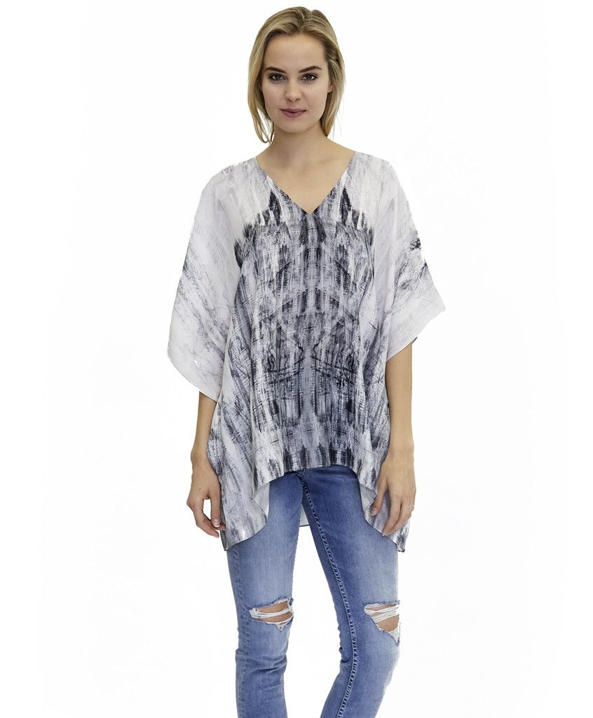kaftan-inspired Norah top in printed silk