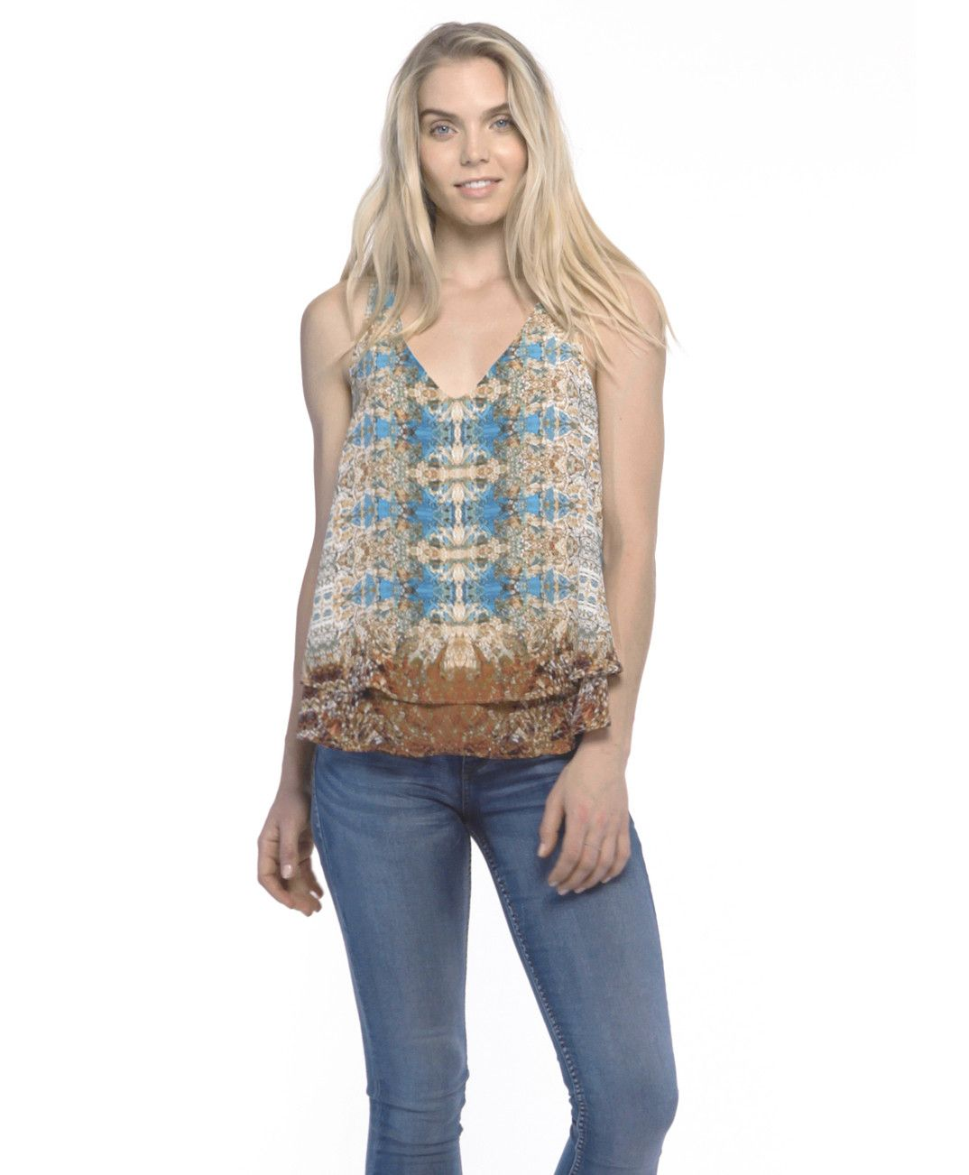 Tangerine NYC women's silk V-Neck Matilda tank in turquoise and rust print best seller