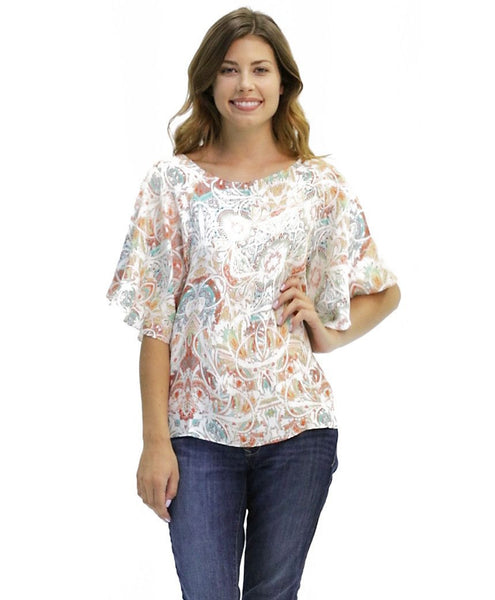 Giselle Silk Top in Spirit Print