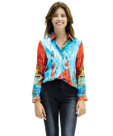 Madison Silk Top in Odyssey Print