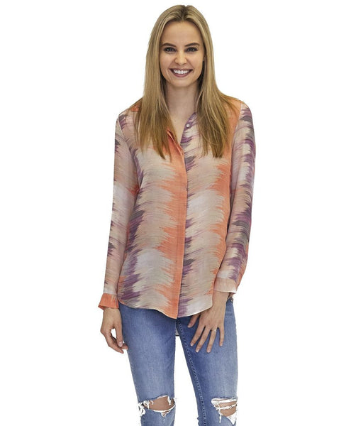 Madison Silk Top in Wave Print