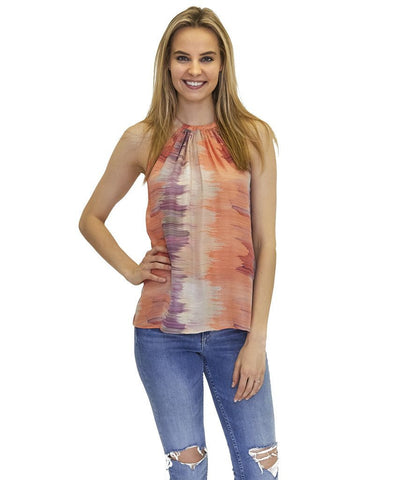 Ally Silk Printed Tank in Wave Print Great for Summer or Vacation.