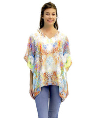 kaftan-inspired Norah top in Tanja print