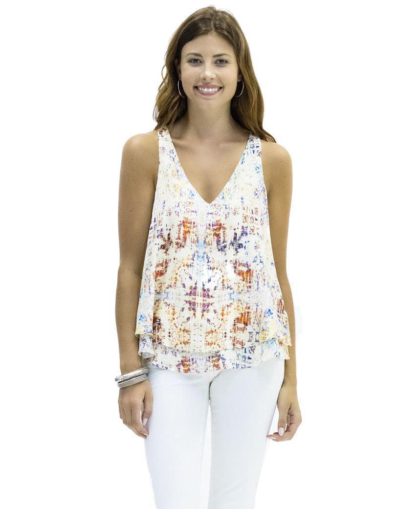 Sarah Silk Tank in Fantasia Print