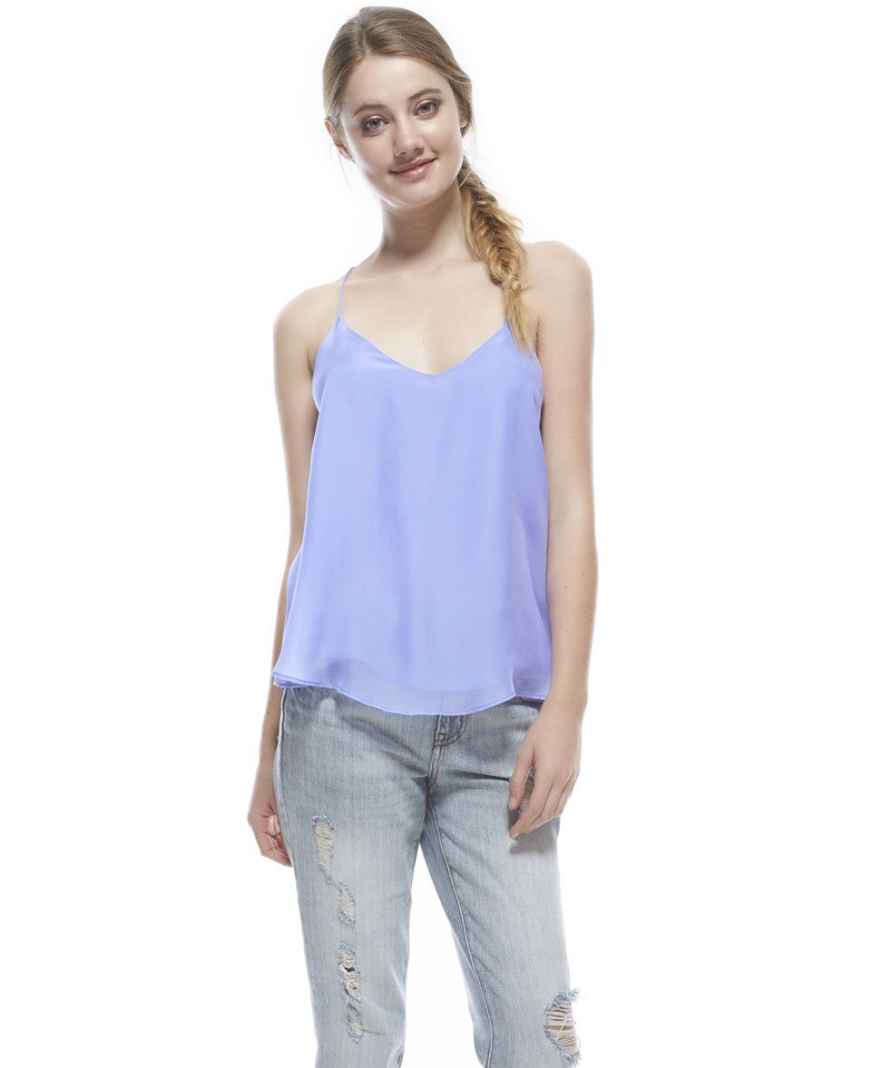 Tangerine NYC silk V-Neck Gwen tank in light purple best seller