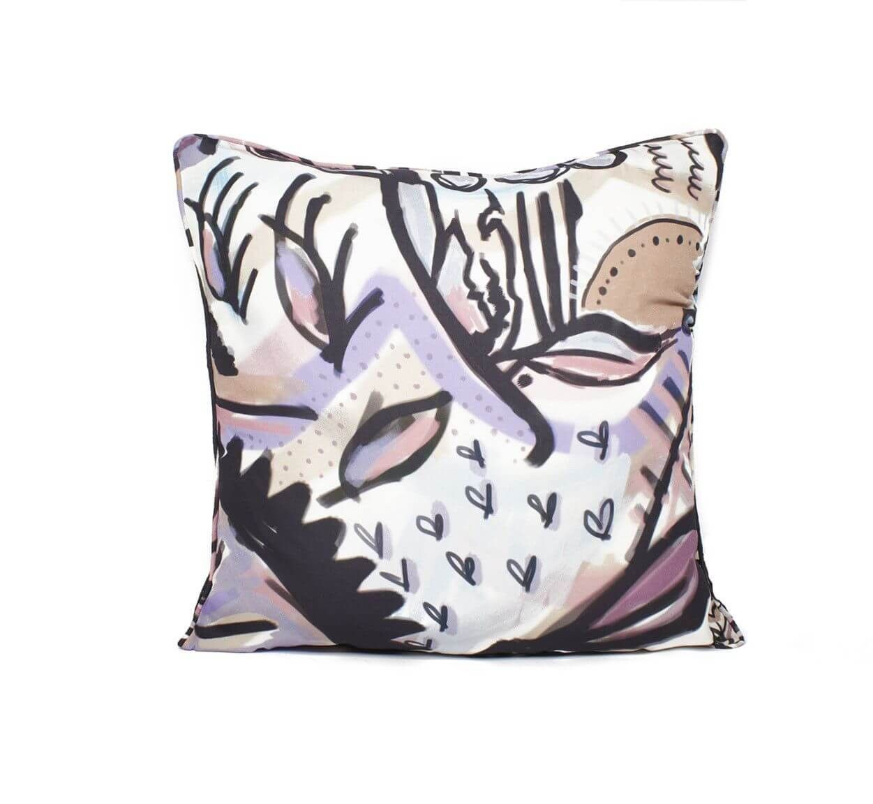 Tangerine NYC women's silk pillow and pillow case in earth tone colored print best seller