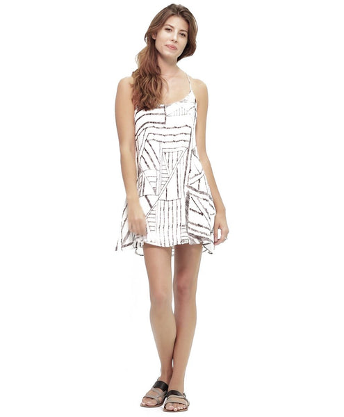 Tangrine NYC women's silk spaghetti strap Reed dress in white and black abstract print best seller