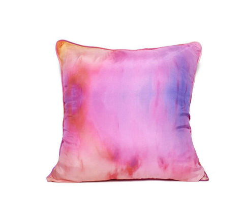 Silk Cased Pillow Solstice Print - Tangerine NYC