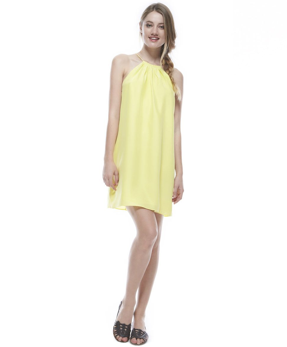 Tangerine NYC women's halter dress in yellow best seller