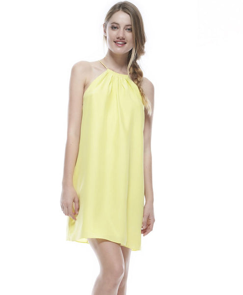 Bailey Halter Silk Dress in Zest Yellow