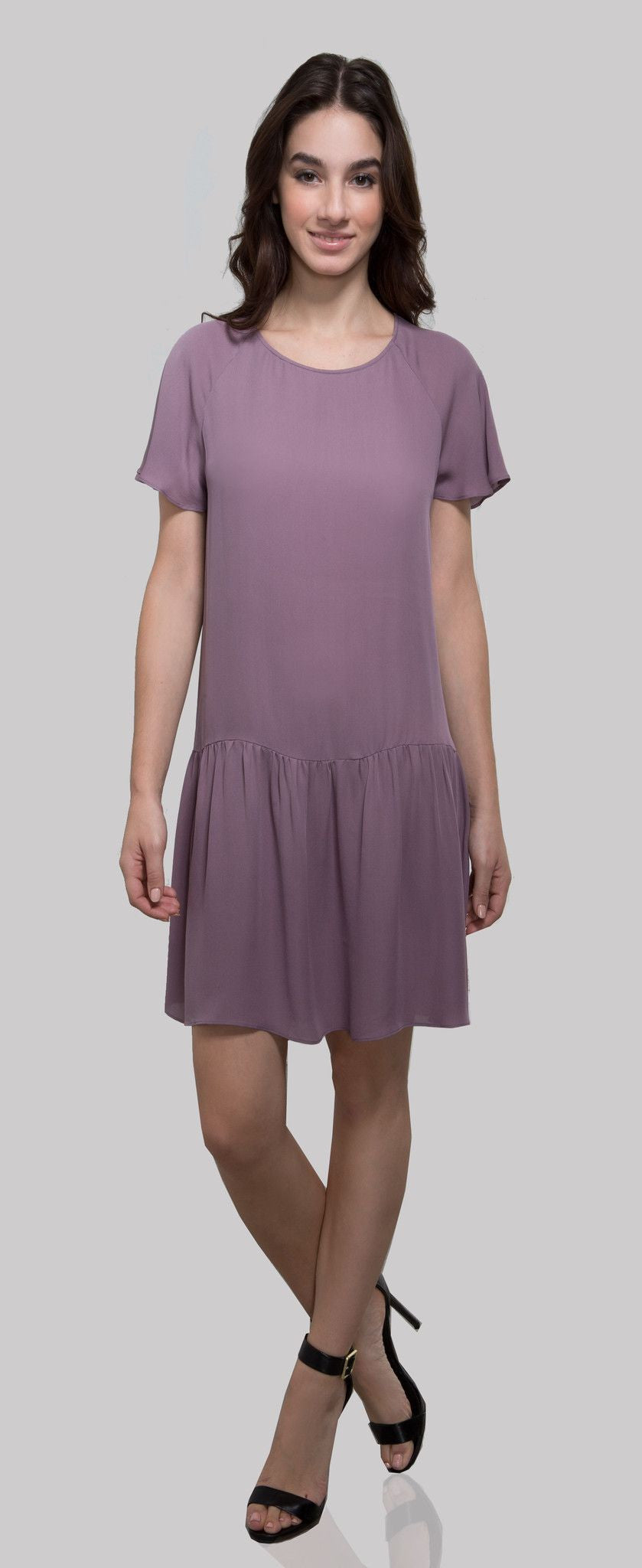 D809 SILK DOUBLE GEORGETTE TOP PLUM