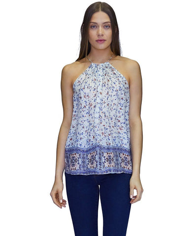 Ally Cupro Tank Top in Fall Flowers Print