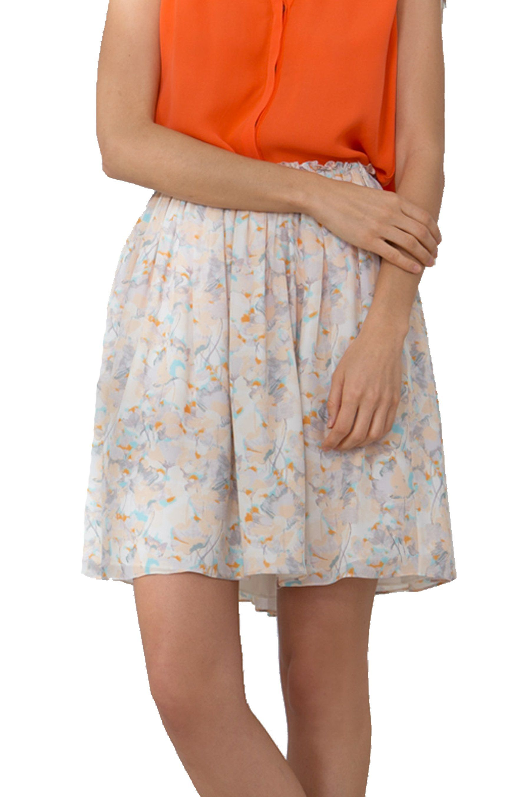 S798 PRINTED DBL GGT PLEATED SKIRT COLOR FLORAL PRINT