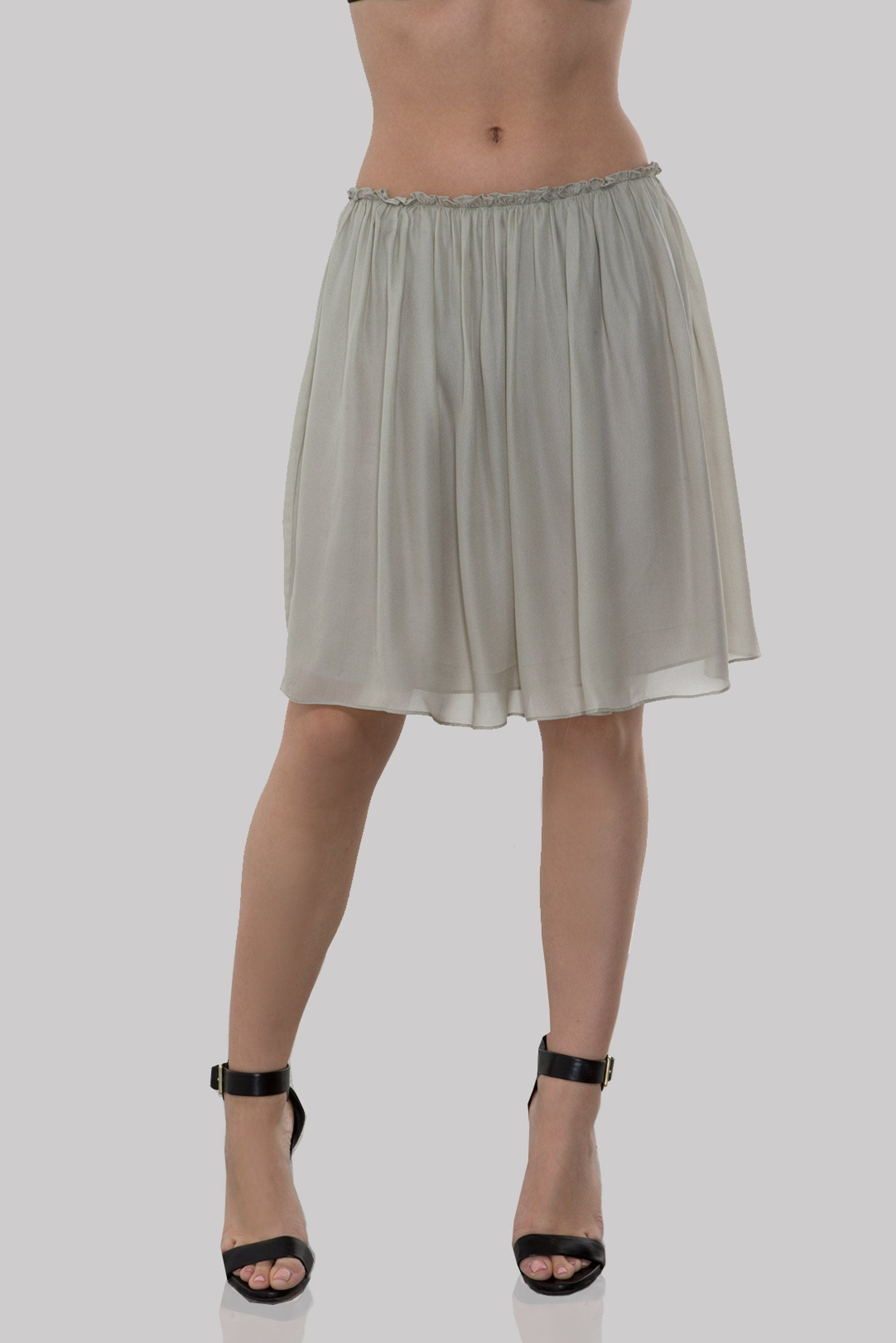S798 PRINTED DBL GGT PLEATED SKIRT LIGHT GREY