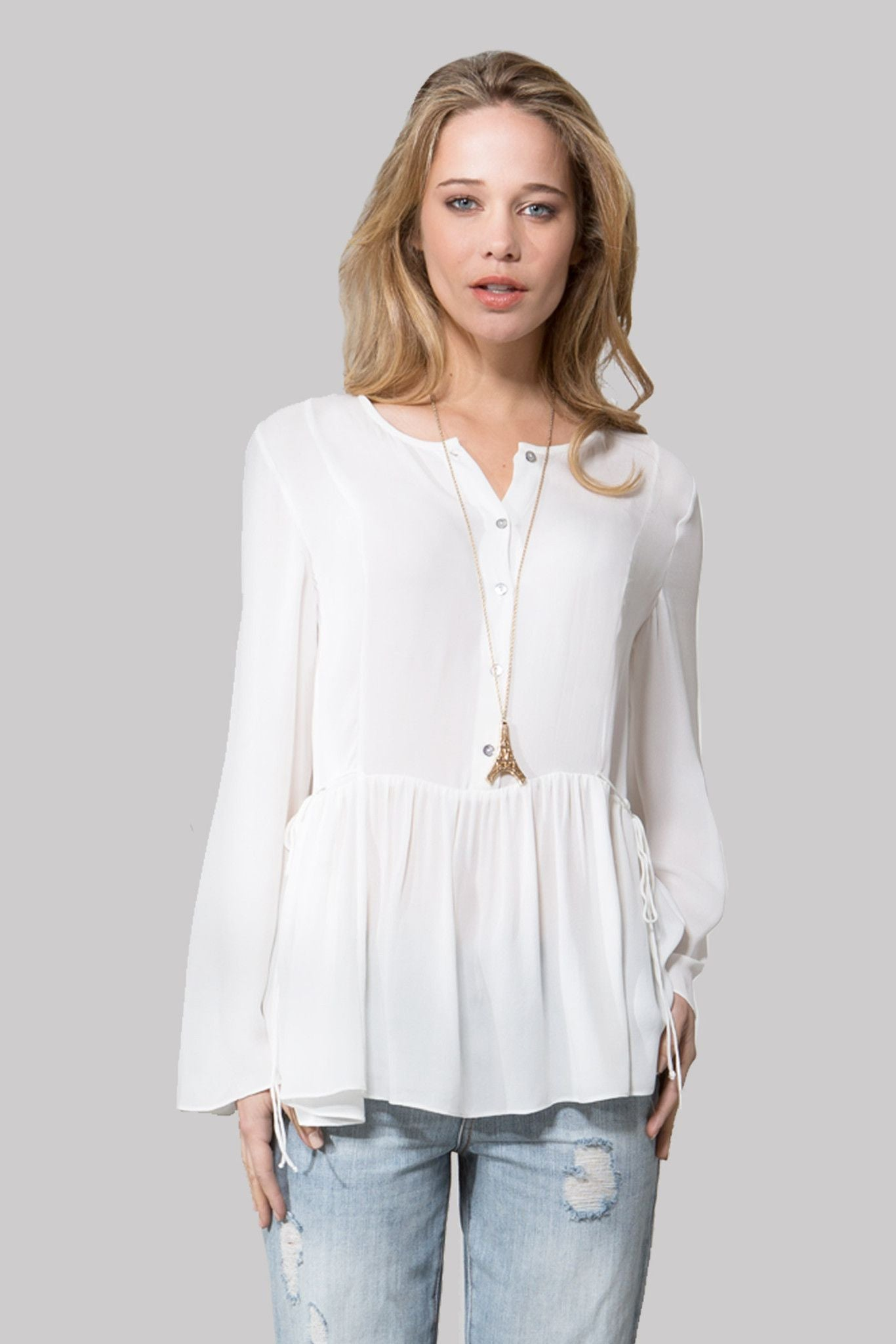 T113 SOLID DBL GGT BLOUSE IVORY
