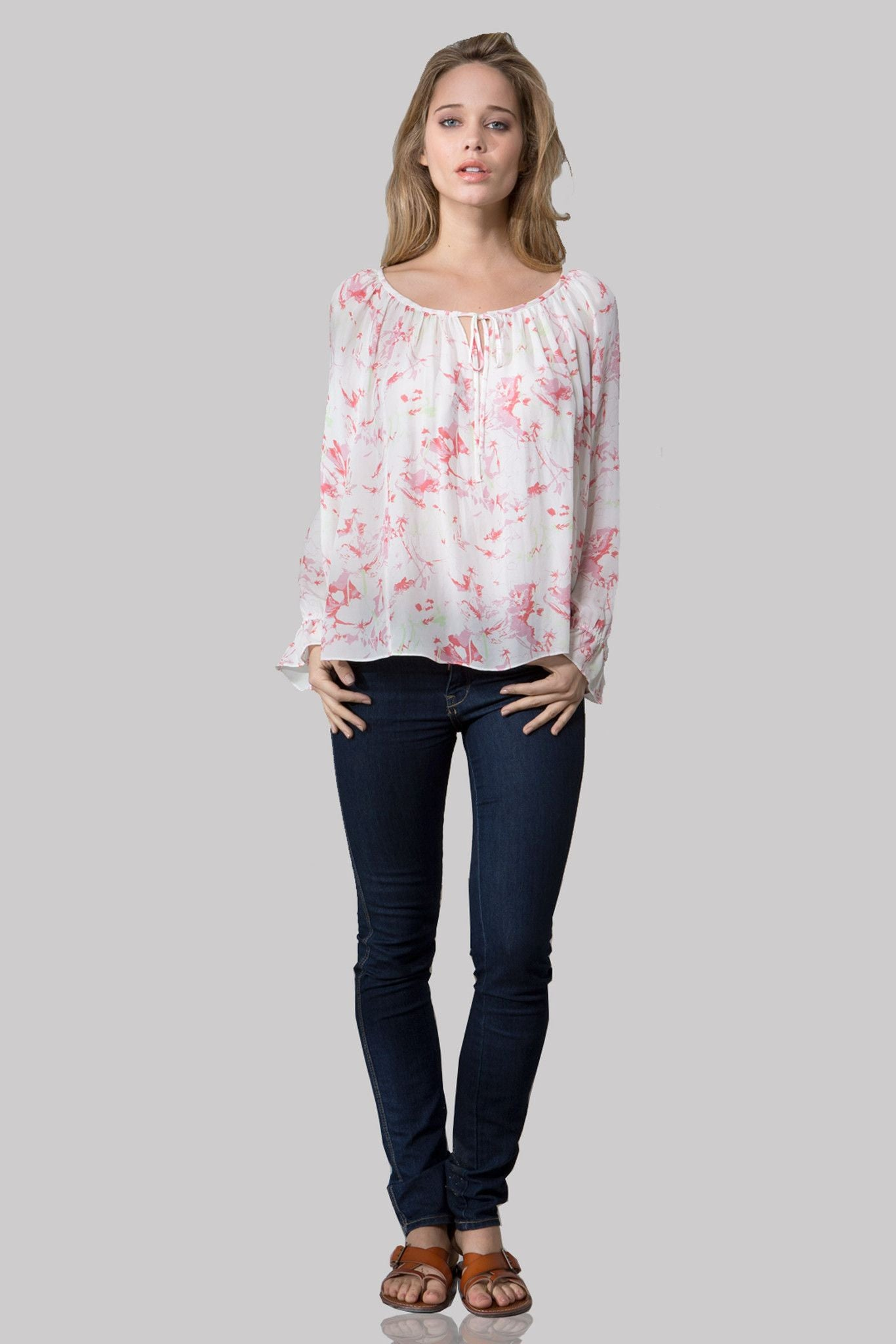 T125 PRINTED BLOUSE IN DBL GGT CHERRY BLOSSOM PRINT