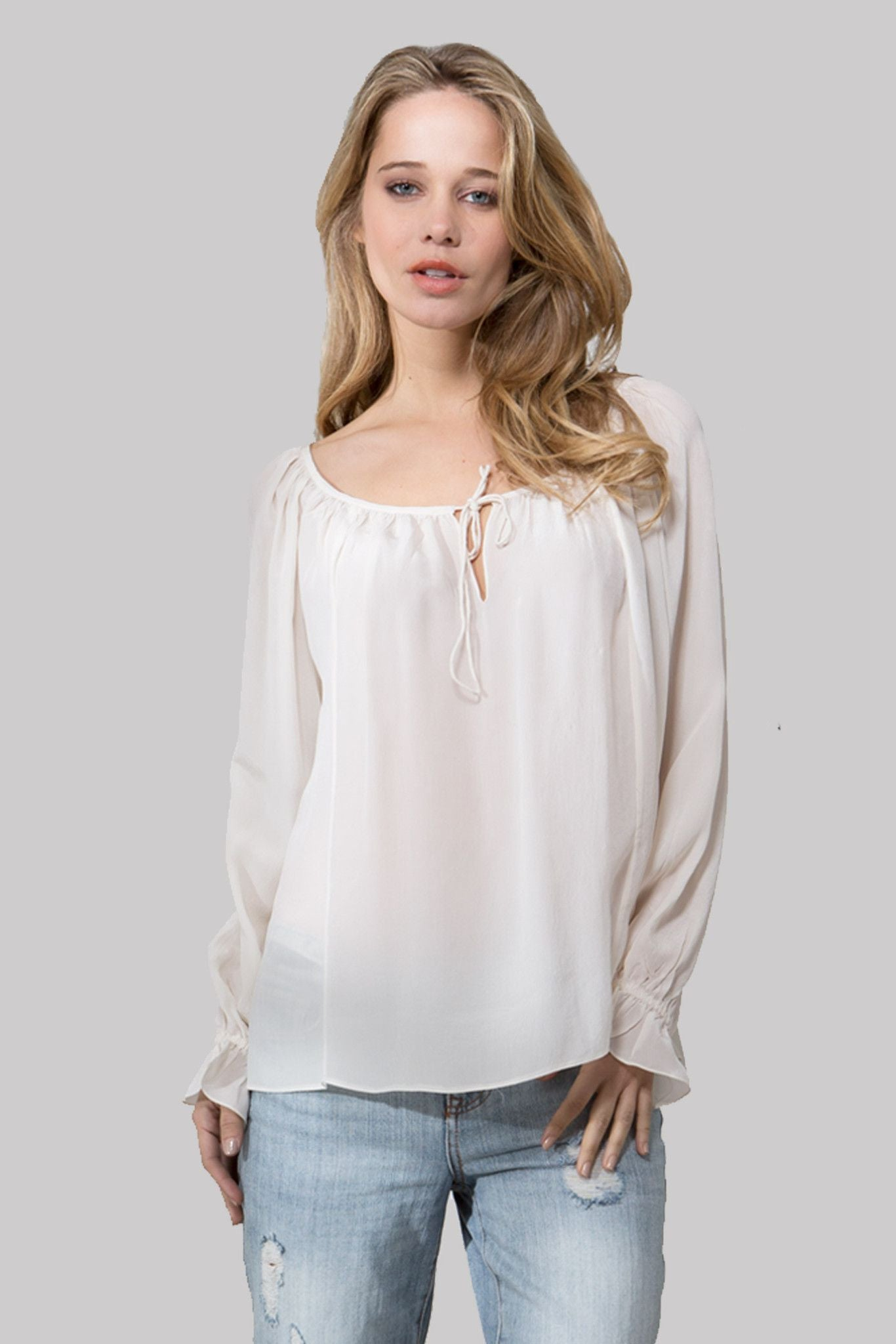 T125 SOLID BLOUSE IN CDC MARSHMALLOW