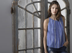 T129 PRINTED TIE DYE TANK IN CDC BLUE BELL DYED
