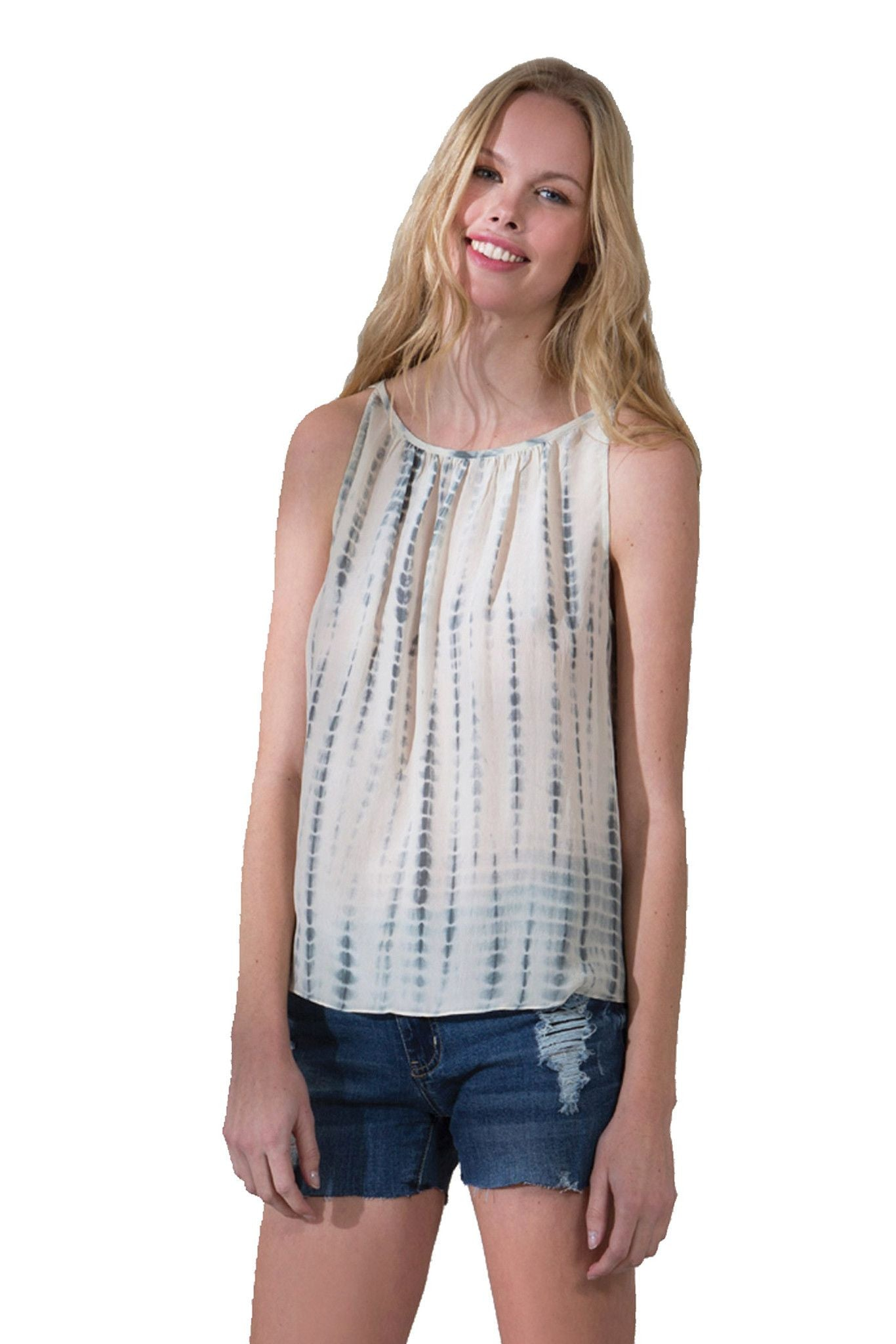 T129 PRINTED TIE DYE TANK IN CDC CHARCOAL DYED