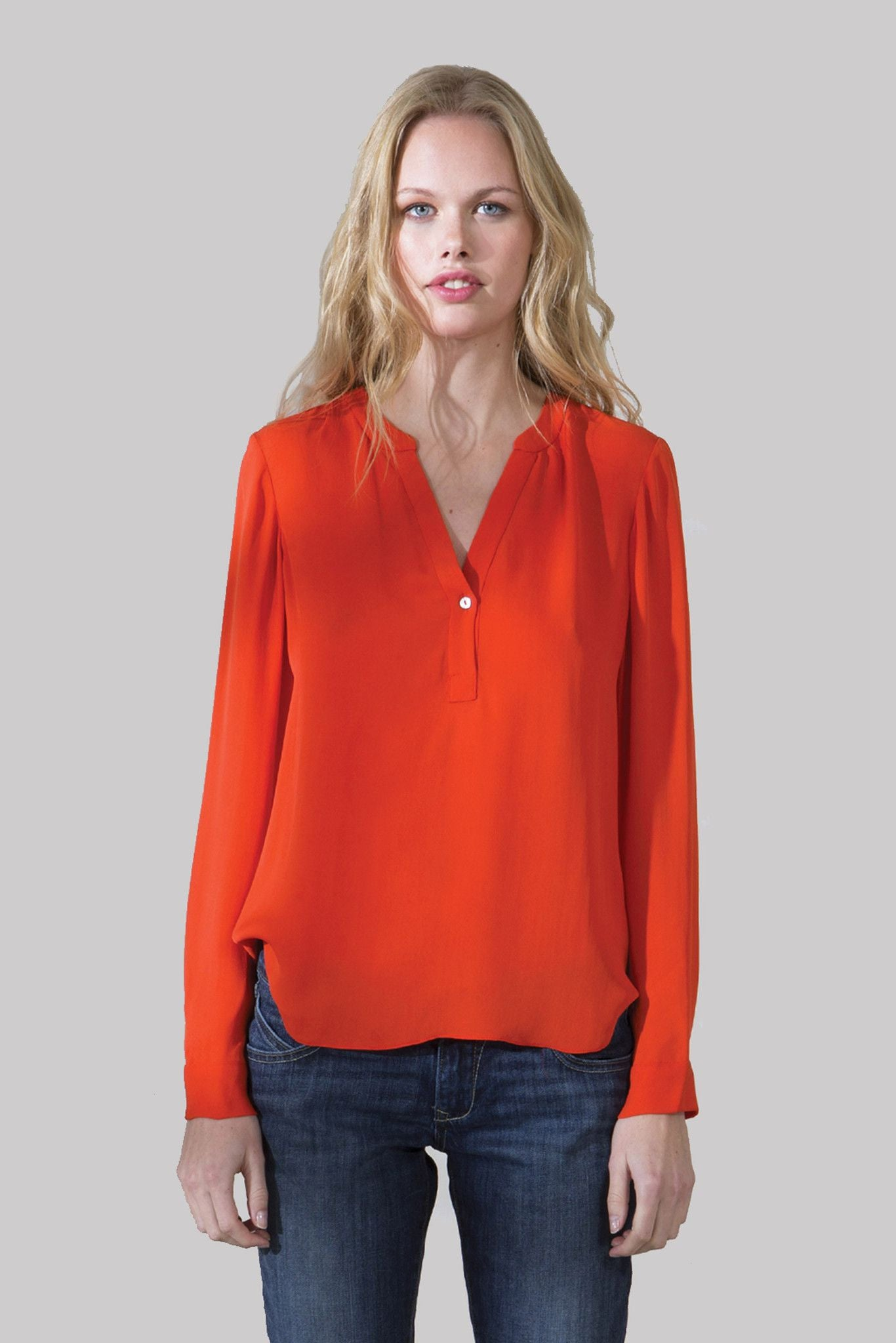 T130 LONG SLEEVE DYED TOP IN CDC FLAME