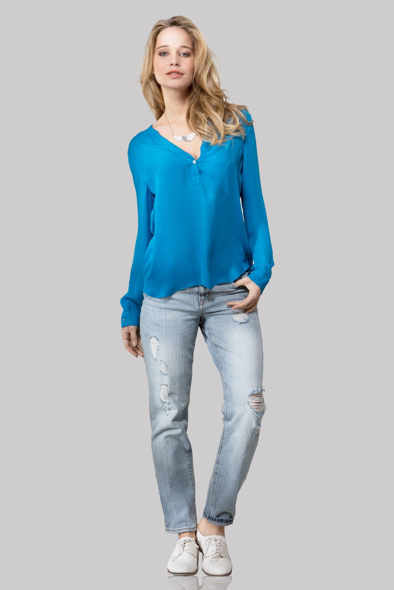 T130 LONG SLEEVE DYED TOP IN CDC OCEAN