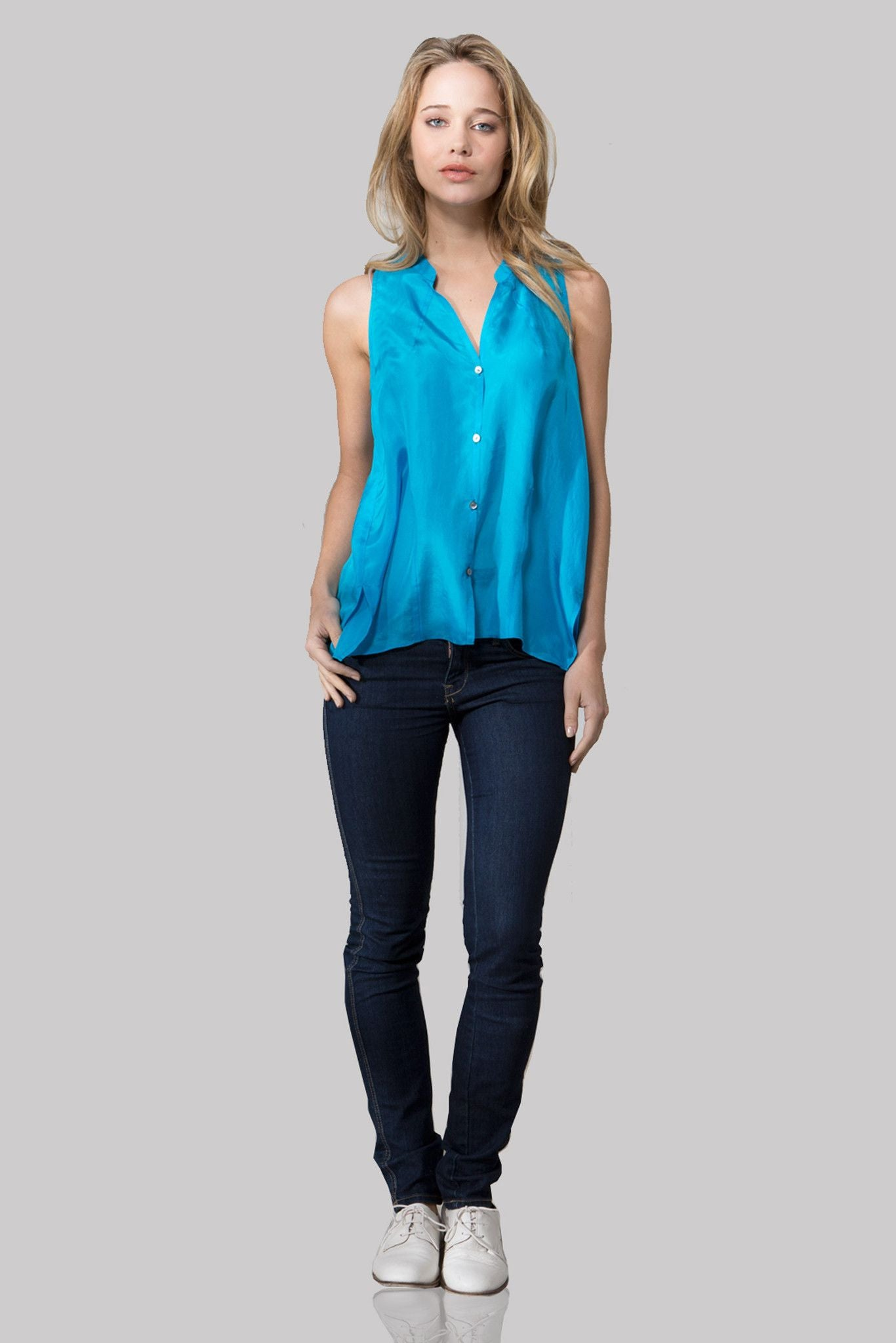 T142 BUTTON DOWN DBL GGT TANK CARIBBEAN