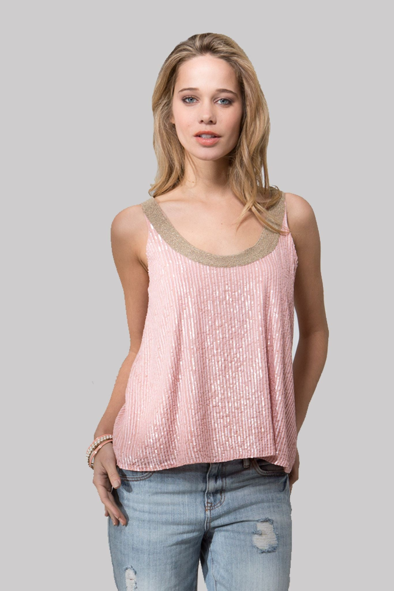 T151E SEQUINS TANK DUSTY ROSE