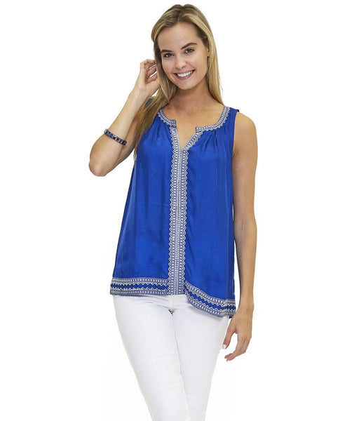 Angelina w Embroidery Tank in Apex Blue