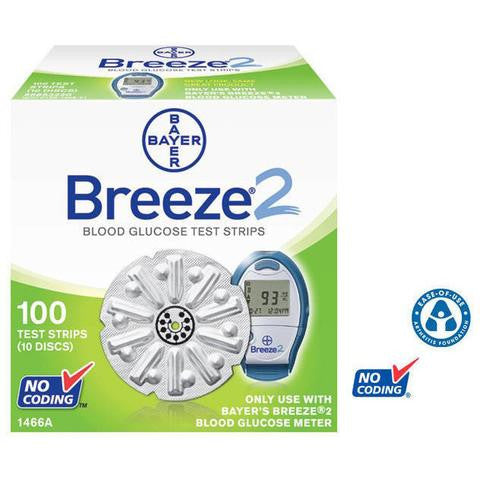 Bayer Ascensia Breeze2 Test Strips 100 Count - Affordable OTC