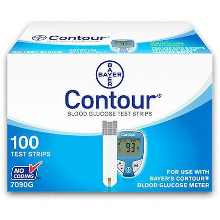 Bayer Ascensia Contour - 100 Test Strips - 7090G - Retail - Affordable OTC
